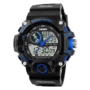 Correa suave elegantes multifuncionales reloj deportivo manos esqueléticas analógico-digital fresco de los nuevos hombres buenos luminosa: Amazon.es: ...