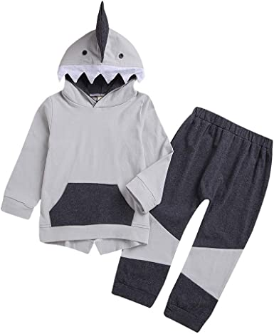 UK Infant Baby Kids Girls Heart Spliced Hooded Tops Pants 2 Pcs Outfits Clothes