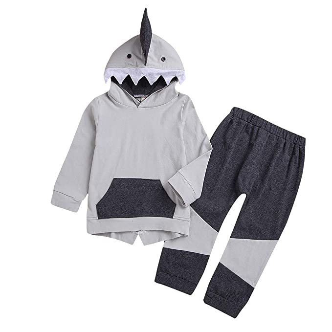 Amazon.com: GIANTHONG Baby Boys Girls Shark Clothes Long Sleeve Hooded with Kangaroo Muff Pockets Top + Pants Set: Clothing