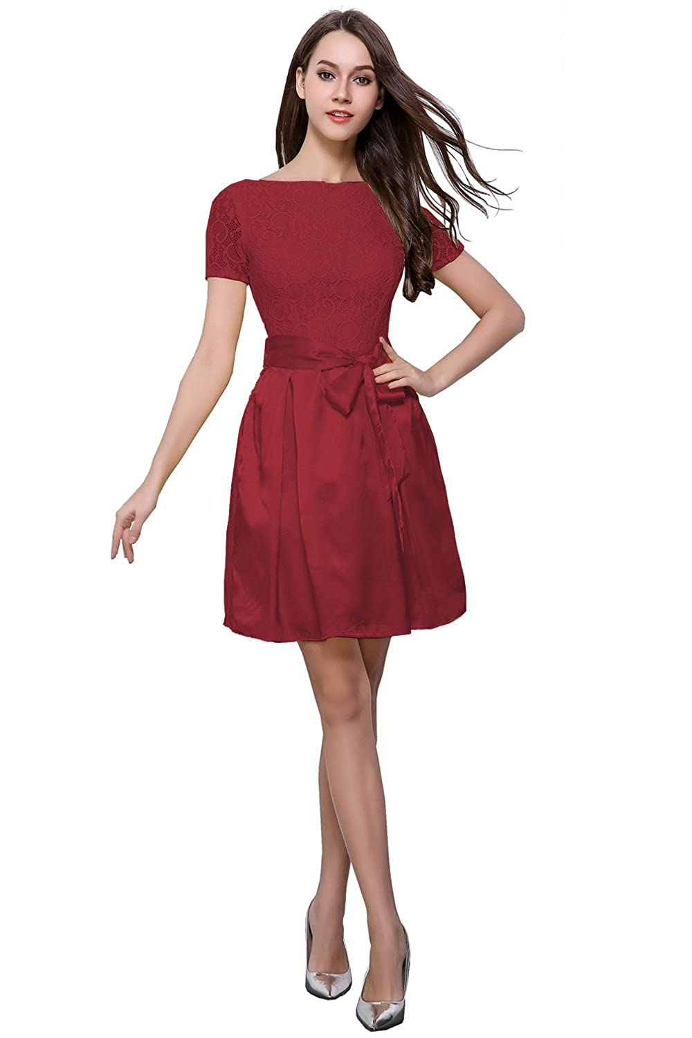 Amazon.com: Beautifly Cute Belt Lace&Satin Short Evening Party Prom Women Dress Burgundy 4: Clothing