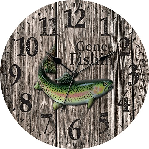 Ashton Sutton MDF Wall Clock with Gone Fishing and 3D Resin Fish on The Dial