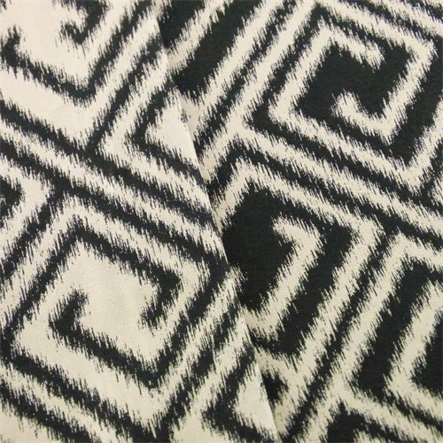Designer Black/Beige Greek Key Ikat Decorating Fabric, Fabric by The Yard