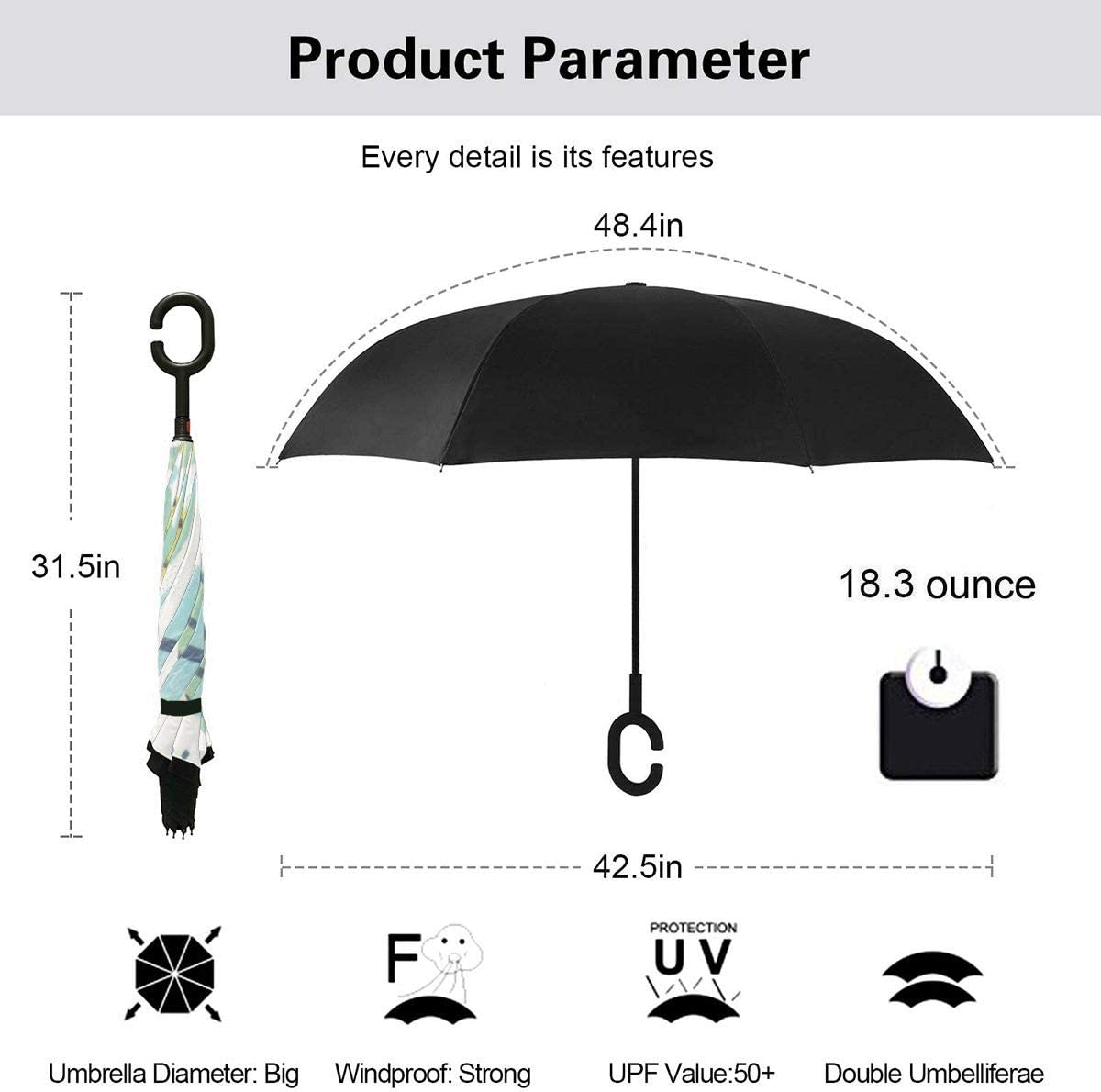 Folding Reverse Umbrella for Car Rain Outdoor Self Stand Upside Down with C-Shaped Handle PYFXSALA Dinosaur Snake Hat Sun Earth Pear Pattern Windproof Inverted Umbrella Double Layer UV Protection