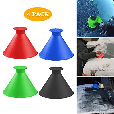 Sodhue Round Windshield Ice Scrapers Magic Cone-Shaped Car Windshield Ice Scrapers Car Snow Removal Shovel Tool Portable Cone Shaped Round Funnel: Automotive