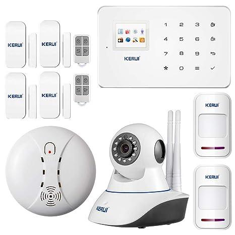 KERUI - Kit Sistema de Alarma GSM/SMS Control de marcado automático por CALL/APP(IOS/ANDROID) Pilas Incluida