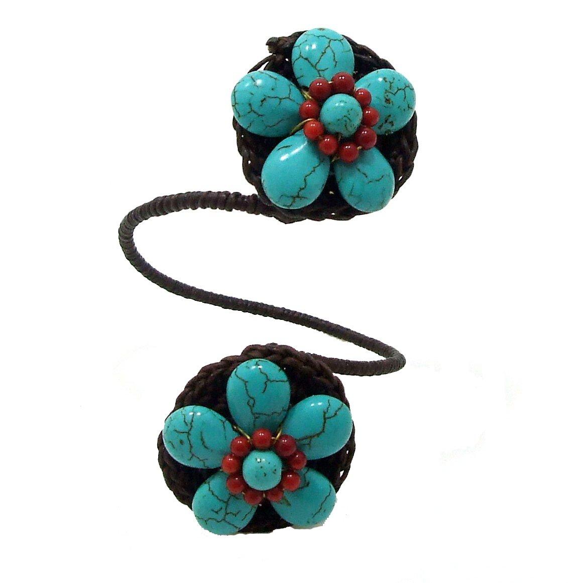 AeraVida Floral Duo Simulated Turquoise & Reconstructed Red Coral Stones Adjustable Cuff Bracelet