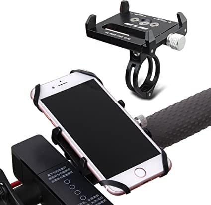 Universal Bike Phone Mount Metal Motorcycle Phone Holder with 2 Adjustable Anti Shake Silicone Strap Fits Most Bicycle Handlebars Compatible for All Smartphones iPhone X//XR//6//7//8 Plus Galaxy S9//S8//S7