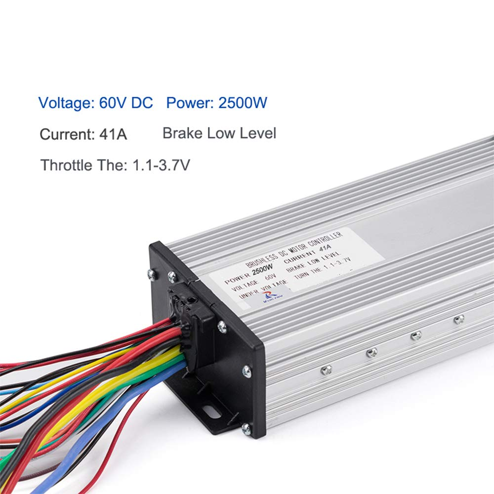 kun ray 60v 2500w electric brushless dc motor controller, 41a 18kun ray 60v 2500w electric brushless dc motor controller,41a 18 mosfet, high speed control, forward and reverse function, low mid high speed for e car,