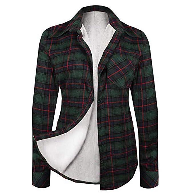 Rosennie Damen Winter Plaid Bluse Mode Patchwork Pullover Hemd Bluse Frauen Warm Flanell Hemd Cardigan Knopf Langarm Strickjacke Damen Button Strickwaren Mode Sweatshirt Strick Shirt