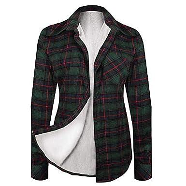 Women Winter Lined Fur Plaid Long Sleeve Button Down Flannel Shirt