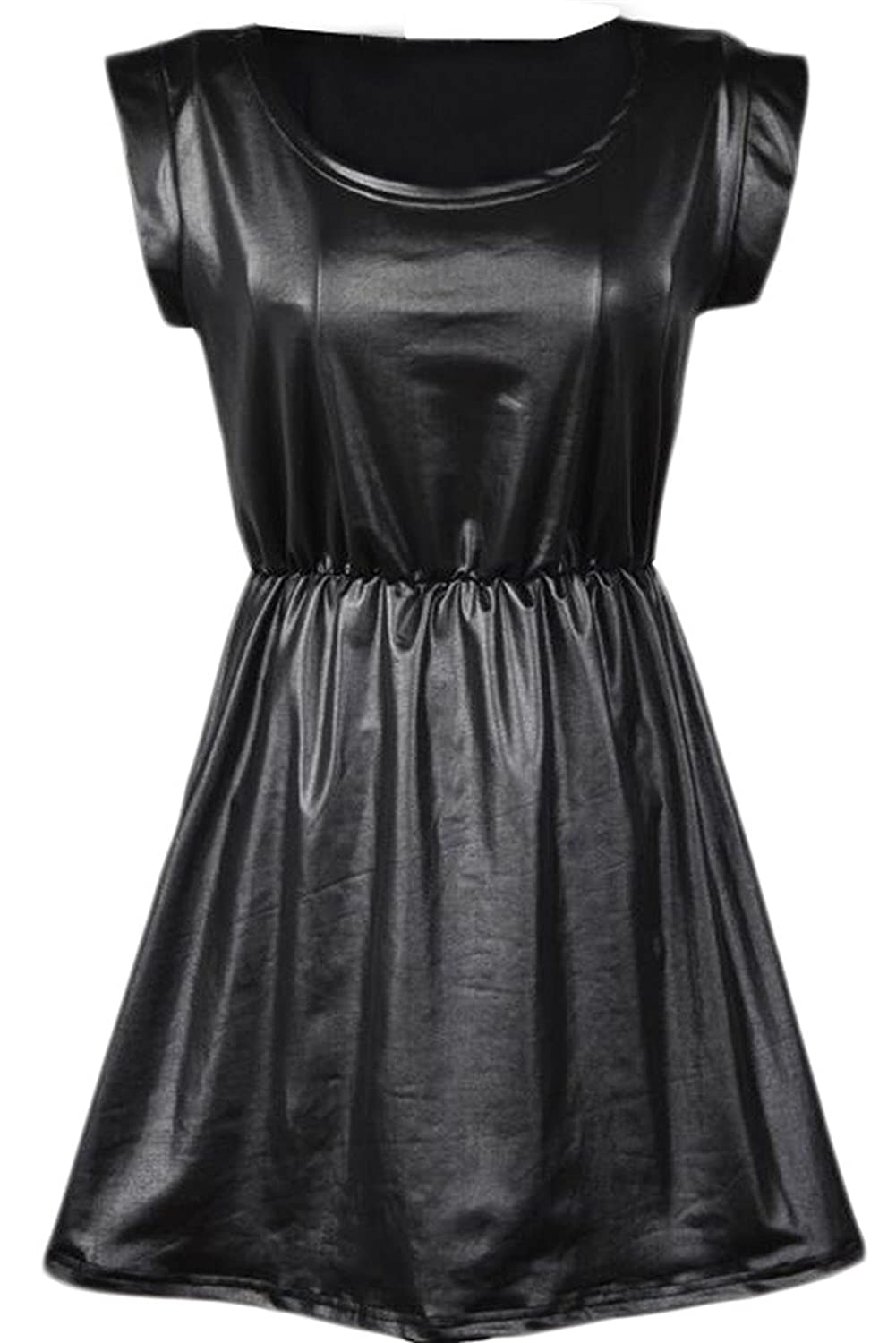 YUNY Women Casual Sexy Slim Faux Leather Solid Short Sleeve Dress