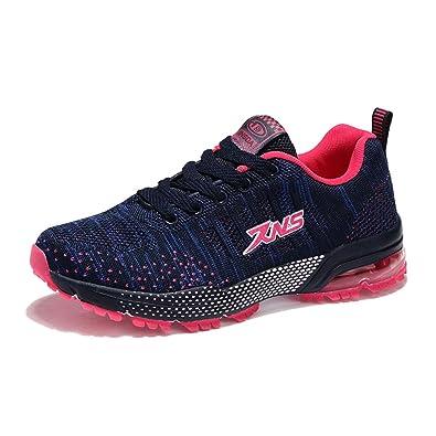 tqgold Herren Sportschuhe Laufschuhe mit Luftkissen Atmungsaktiv Bequeme Turnschuhe Rutschfeste Leichte Schuhe (Schwarz Rot,Groß 45)