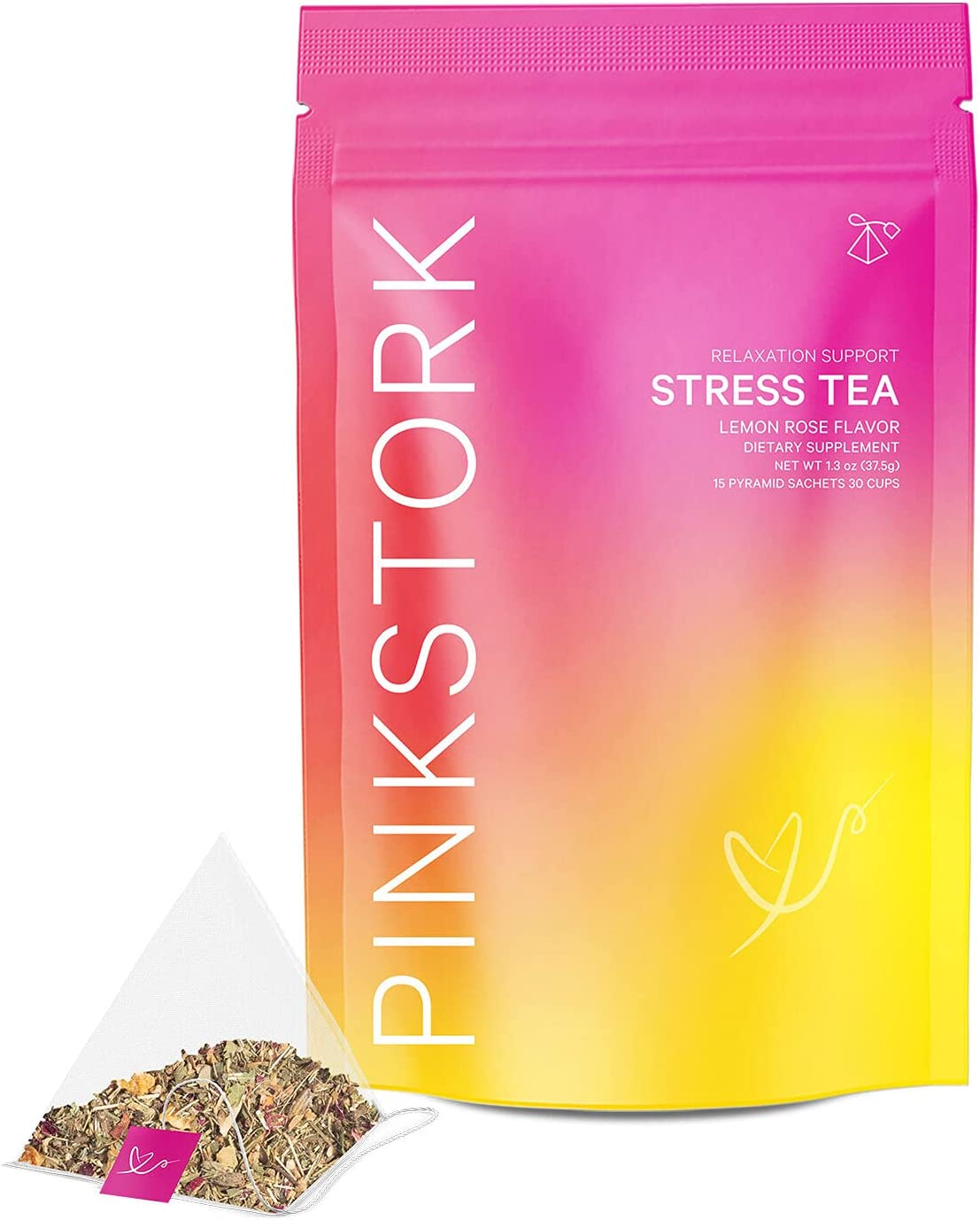 Pink Stork Stress Tea: Lemon Rose 100% Organic Herbal Tea for Relaxation + Stress Relief, with Ashwagandha + Chamomile + Lavender, Women-Owned, 30 Cups