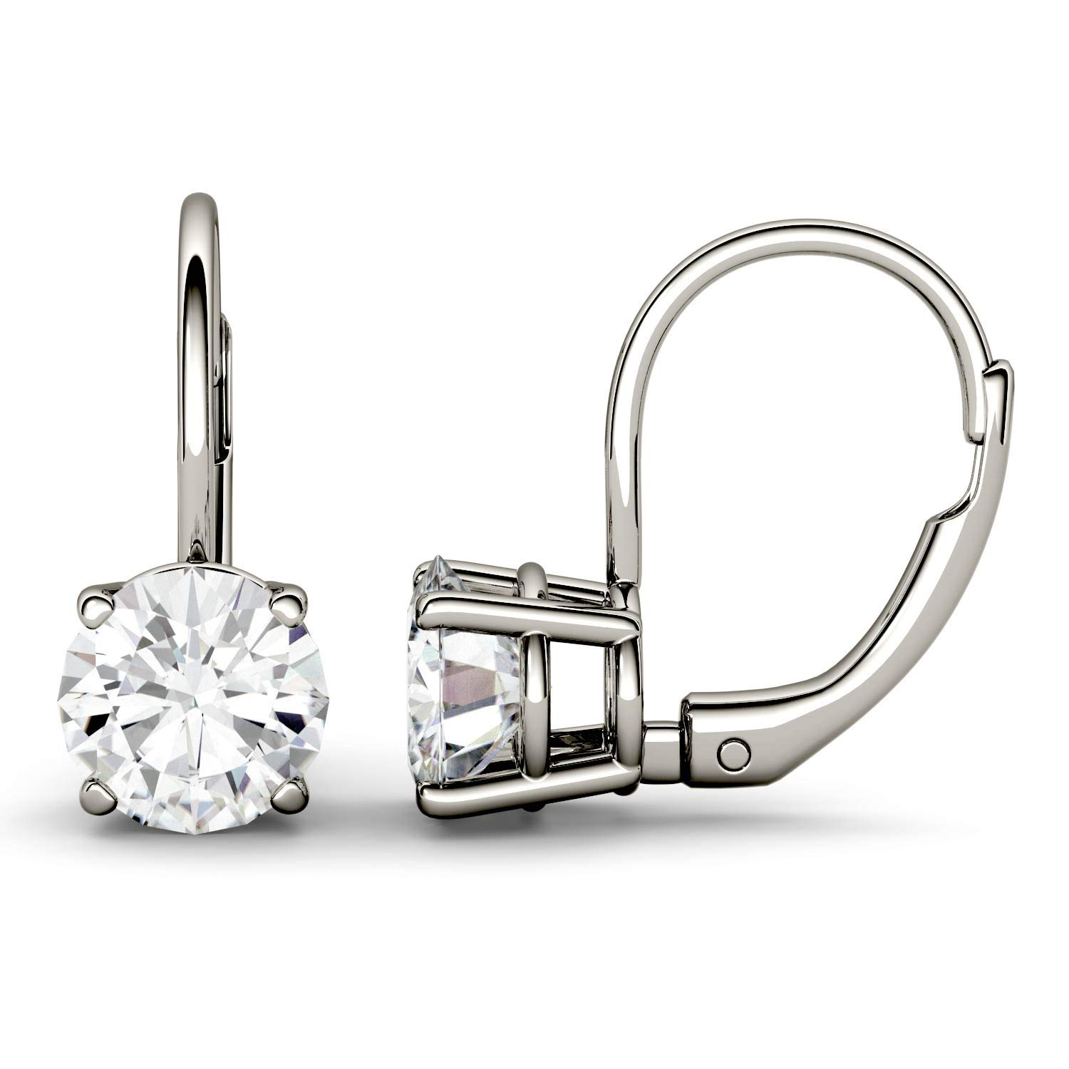 14K White Gold Moissanite by Charles & Colvard 6.5mm Round Leverback Earrings, 2.00cttw DEW