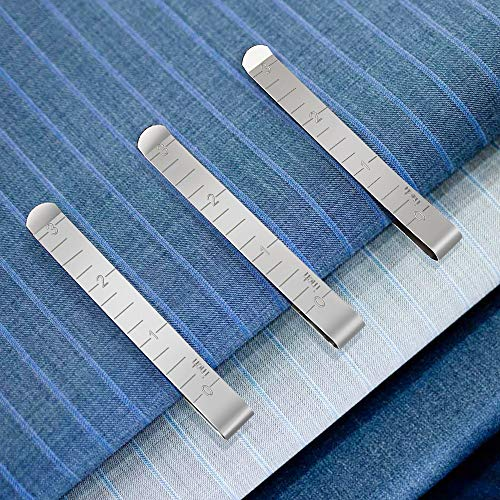Sewing Clips Set of 15 Stainless Steel Hemming Clips 3 Inches Measurement Ruler Quilting Supplies for Wonder Clips, Pinning and Marking Accessories