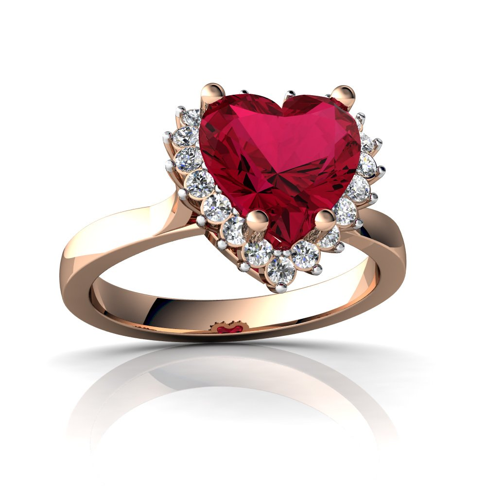 14kt Rose Gold Lab Ruby and Diamond 8mm Heart Halo Heart Ring - Size 6.5
