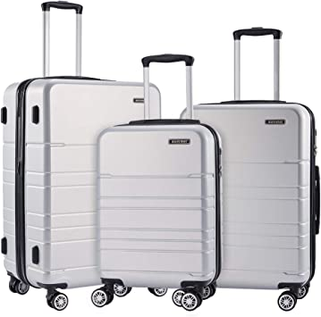 CLOUD Luggage Sets Travel Suitcase Male and Female Lightweight ABS Air Carrier Trolley Case Lock 4 Wheels Color : White, Size : 28 inches