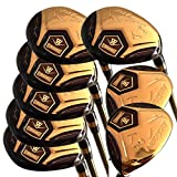 Japan WaZaki 14k Gold Finish Cyclone 4-SW Mx Steel Hybrid Irons Golf Club Set + Headcover (pack of 16)