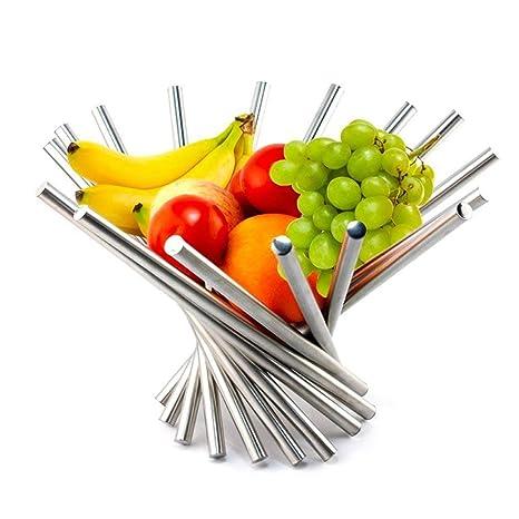 Frutero plegable creativo de acero inoxidable para cocina y comedor, cesta de fruta