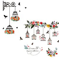Lovfa 2PCS Flowers Birdcage Removable Wall Decals Stickers Wall Decor Home Art Mural Wallpaper