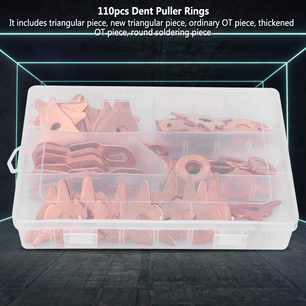 Car Tools-Samfox Dent Puller Rings 110pcs Dent Pulling Puller Rings T-riangle OT Round for Car Body Welding Repair Tool