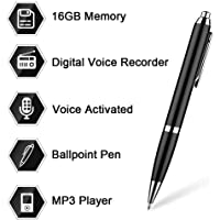 16GB Digital Voice Recorder Pen by Aizhy,Pocket Voice Activated Recorder Pen,Dictaphone, MP3 Player 3-in-1 with Mini USB Disk,One Button Recording and Saving Perfect Speeches(Black)