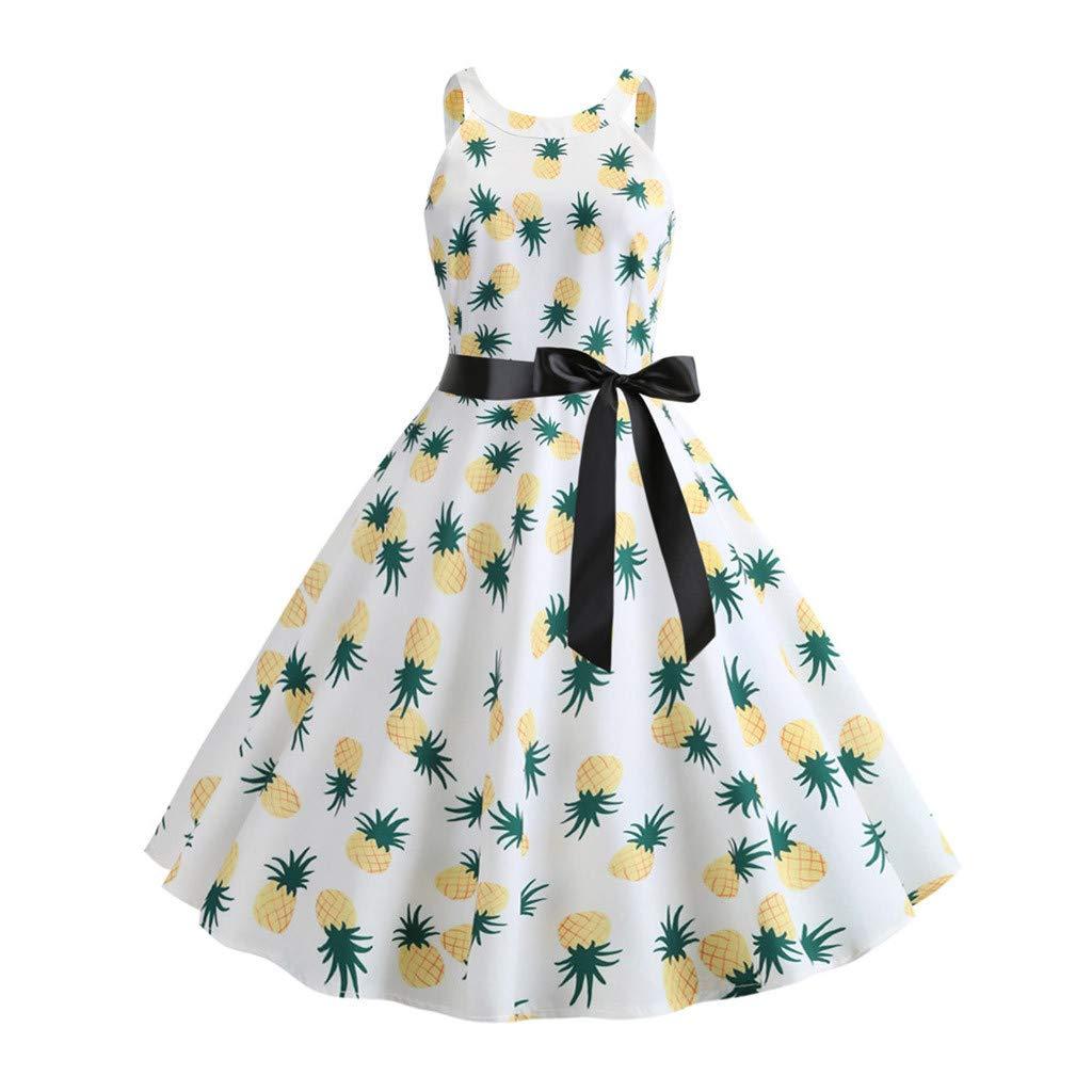 Sharemen Women's Vintage 1950S Halter Neck Polka Dot Audrey Hepburn Dress Swing Dresses Belt(Green,M)