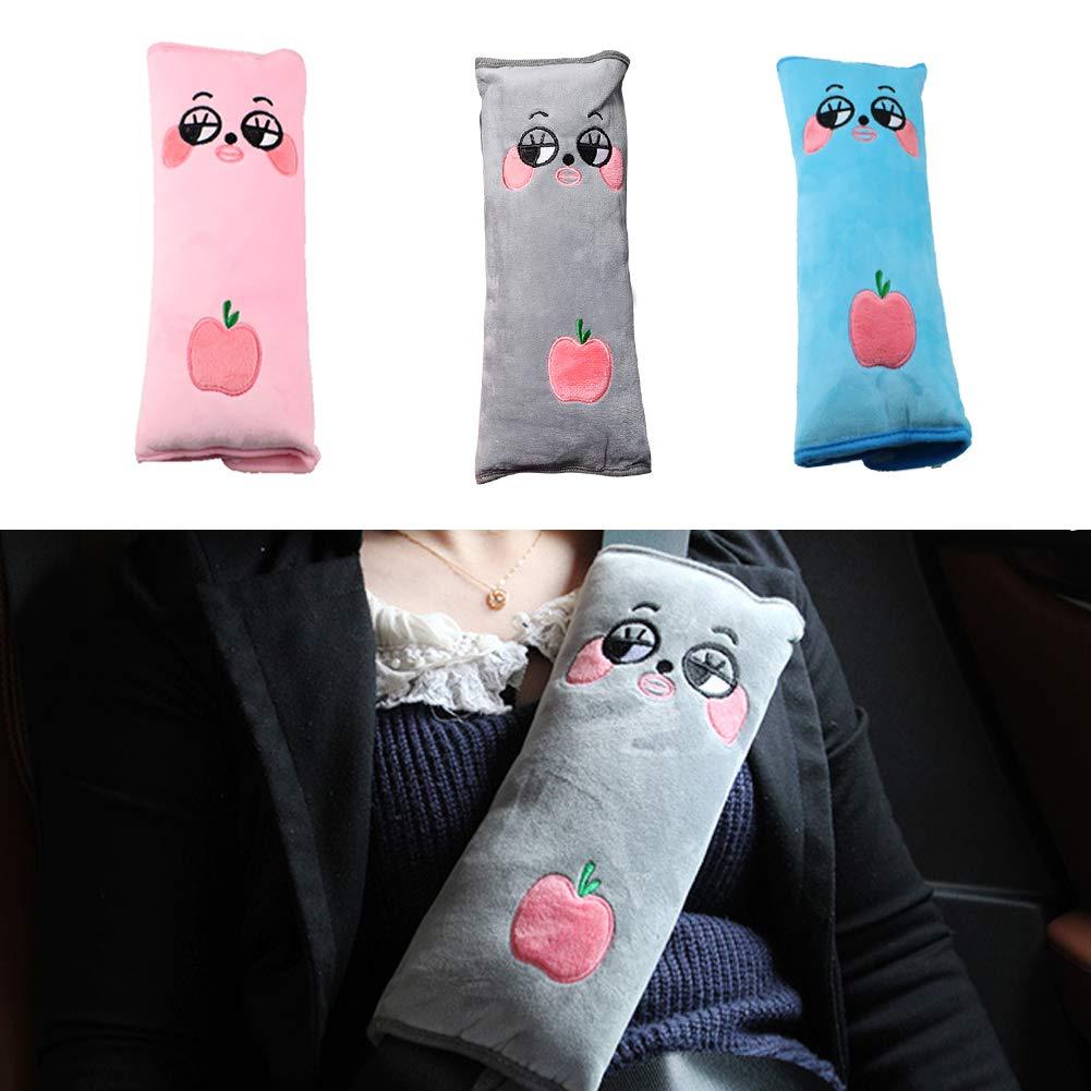 Walkretynbe Car Seat Belt Pads Cover Lovely Cartoon Fruit Pattern Soft Shoulder Pads Cover Pink