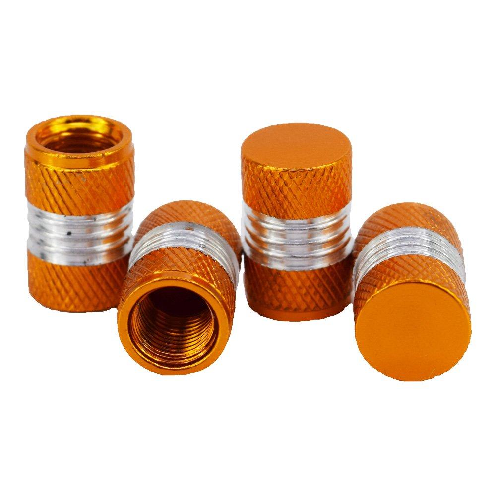 Outletshop24 Hochwertiges Aluminium Reifen Ventilkappen Set Orange 4 St/ück einfache Montage Eintragung Frei
