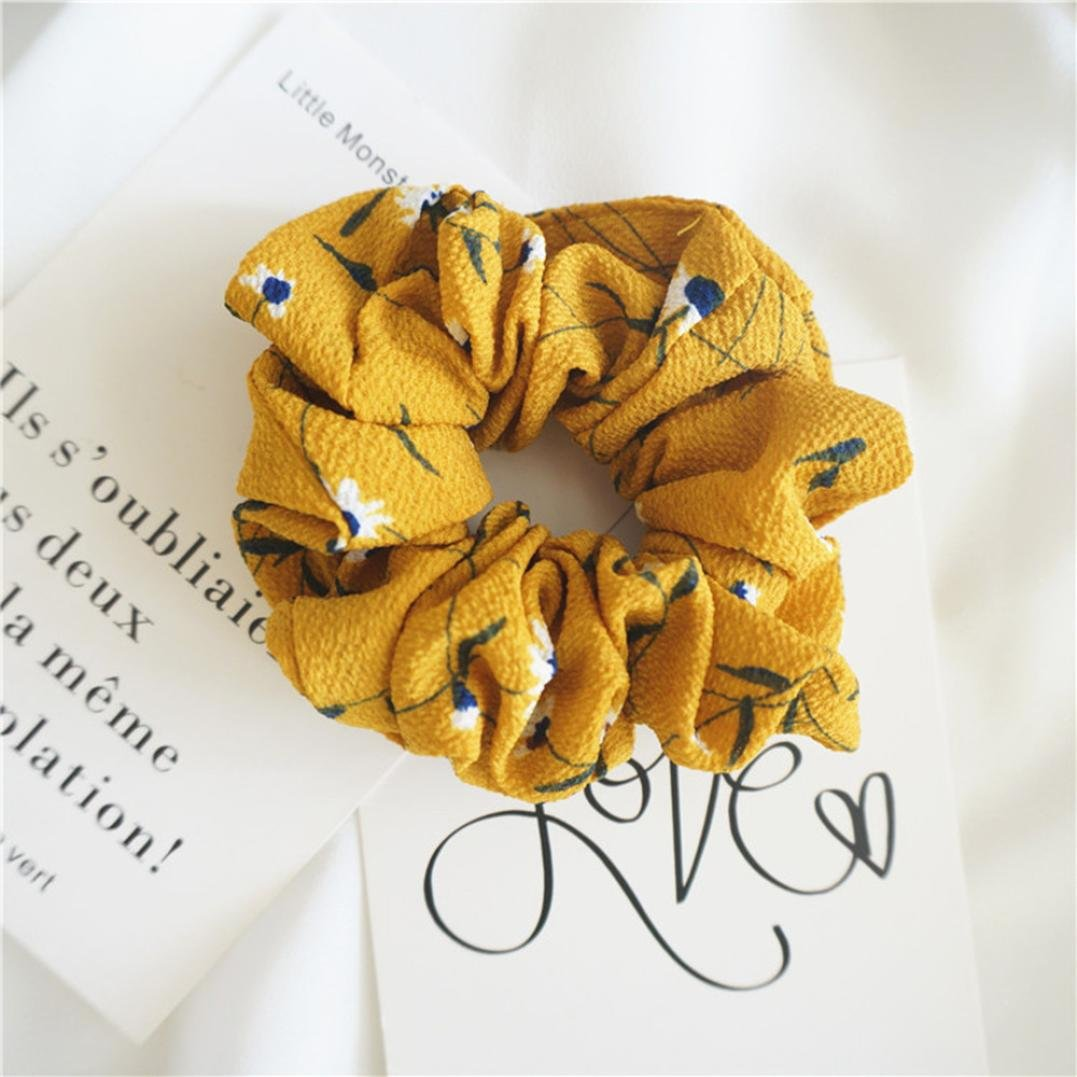 Amazon.com : IKevan Summer Floral Hair Scrunchies Bun Ring Elastic Fashion Sports Dance Scrunchie (Yellow) : Beauty
