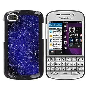 La creatividad de las estrellas - Metal de aluminio y de plástico duro Caja del teléfono - Negro - BlackBerry Q10