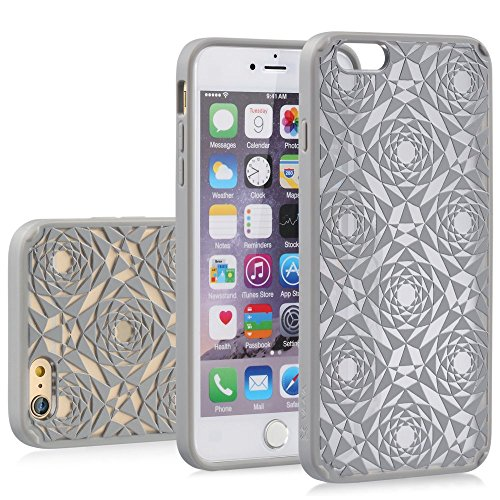 iPhone 6s Case, VENA [TACT Armor | Polygon Design] Slim Protective Guard Hybrid Hard Phone Case [Corner Guard | Shock Absorption] Embossed Pattern Back Cover for Apple iPhone 6S / iPhone 6 - Silver
