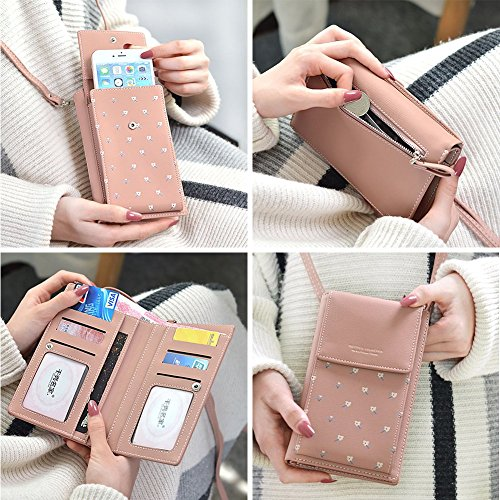 Wallet Purse Women Phone Floral Small 2 Cell Crossbody Shoulder Strap Blue Bag with Girls For vxCxXTq
