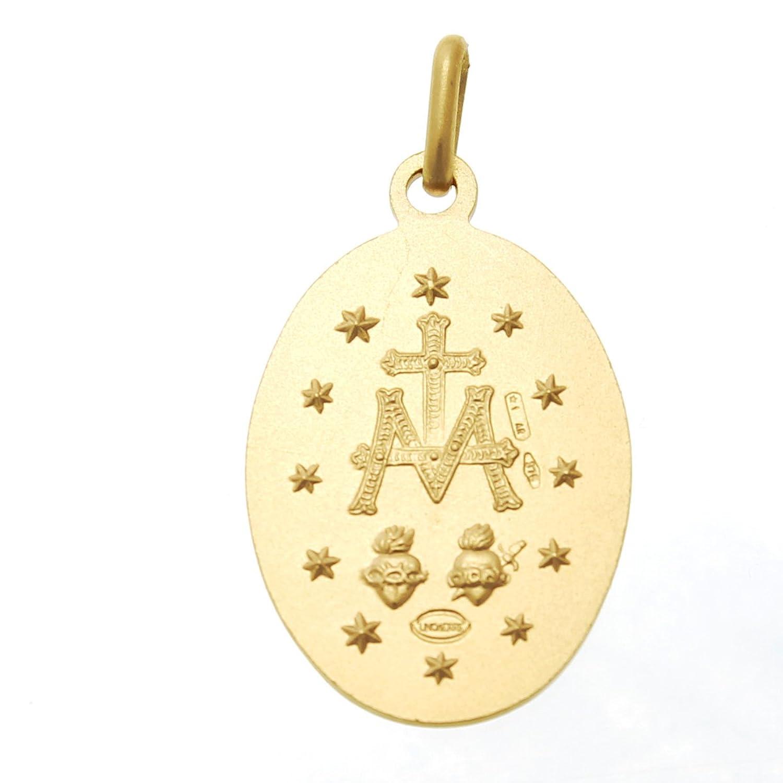 9ct Gold Miraculous Medal Pendant - Matt Finish 14mm wQmlaOUvg
