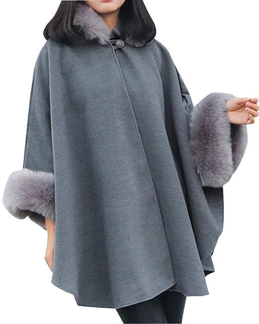Poncho Mujer Elegantes Mangas De Murciélago Cuello De Piel con Capa Abrigos Invierno Moda Retro Elegantes Casual Anchas Espesor Termica Chal Outerwear: ...