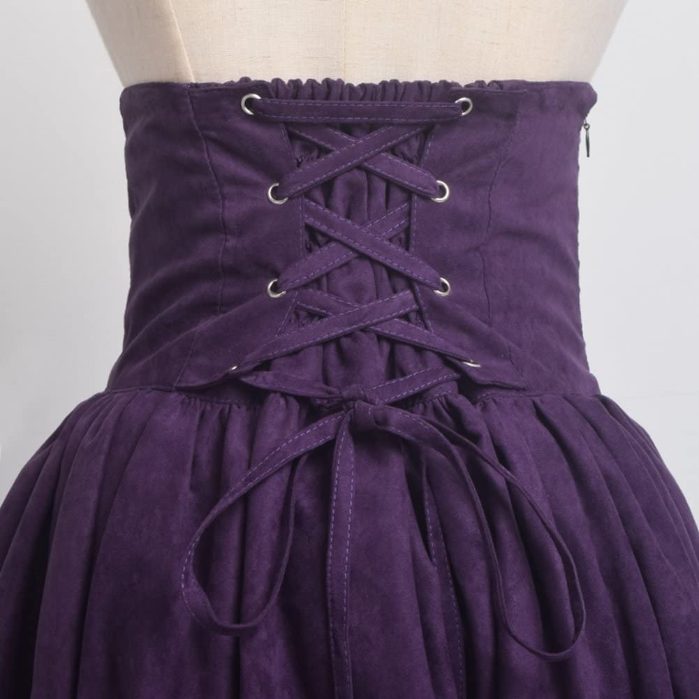 BLESSUME Gothic Lolita Steampunk High Waist Walking Skirt
