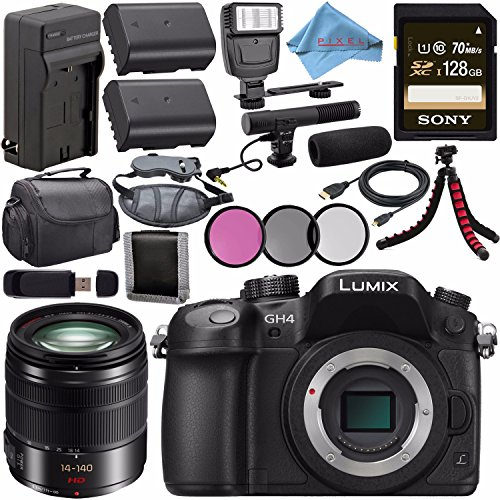 Panasonic Lumix DMC-GH4 Digital Camera (Body Only) DMC-GH4KBODY + Lumix G Vario 14-140mm O.I.S. Lens + 58mm 3pc Filter Kit + DMW-BLF19 Lithium Ion Battery + External Rapid Charger Bundle
