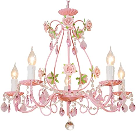 Bagood Gypsy Pink Flowers Crystal Chandeliers Fixture E12 Modern Wrought  Iron Rose Restaurant Bedroom Living Room Hanging Lamp