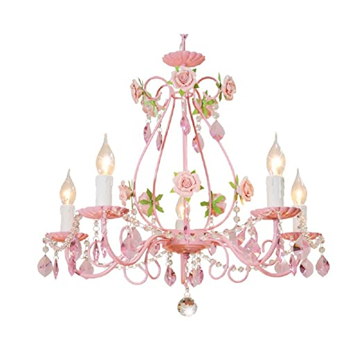 Bagood Gypsy Pink Flowers Crystal Chandeliers Fixture E14 Modern Wrought  Iron Rose Restaurant Bedroom Living Room Hanging Lamp