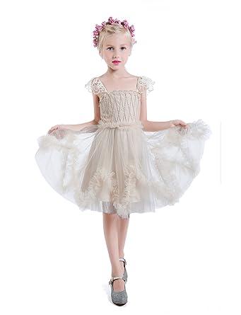 Amazon.com: Castle Fairy Girls Beads Tank Strap Lace Short Gowns ...