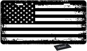 WONDERTIFY License Plate Grunge American Flag USA Flag Black and White Patriotic Decorative Car Front License Plate,Vanity Tag,Metal Car Plate,Aluminum Novelty License Plate,6 X 12 Inch (4 Holes)