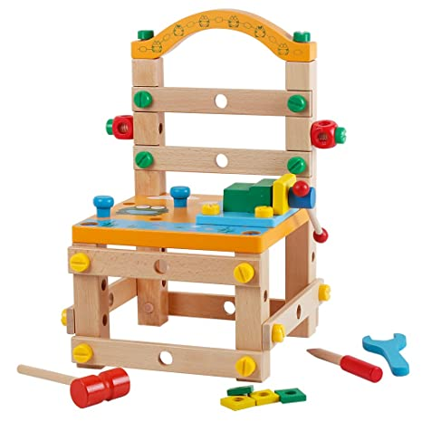 Bodolo Diy Working Chair Screw Multi Functional Puzzle Wooden Toys  Construction Building Sets
