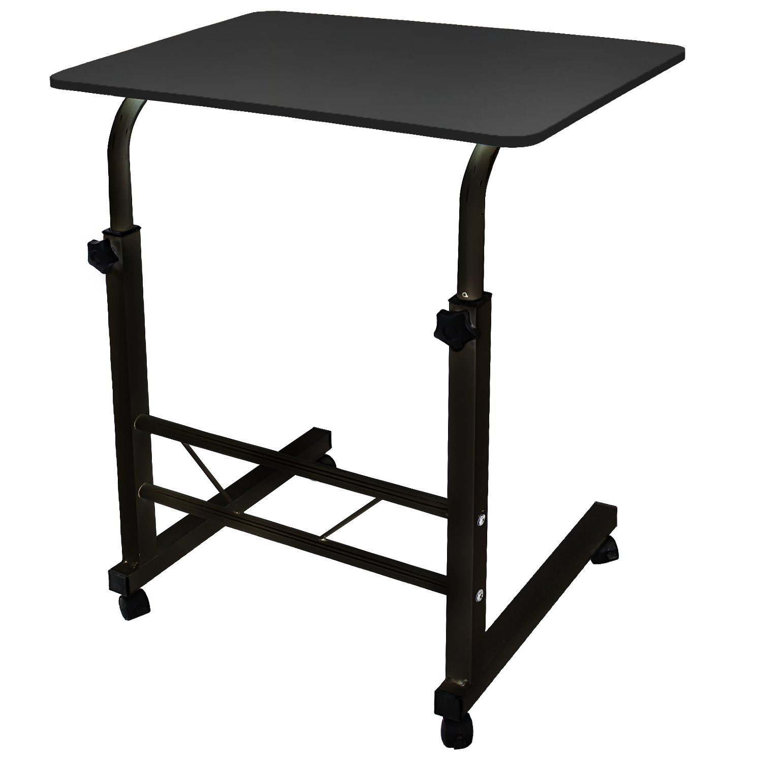 DL furniture - Adjustable Height Laptop Desktop Table Stand, Over Bed Side Table With Wheels | Metal Frame & Natural Surface (Black) by DL furniture