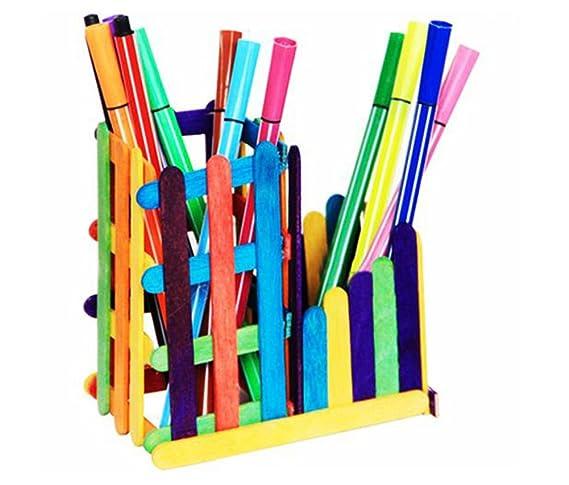Kentop 100Stk Bunte Holzst/äbchen Nat/ürliche Craft Sticks Pflanze Etikette H/ölzern f/ür Handwerk Hausgemachte DIY size S