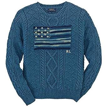 Amazon.com: Polo Ralph Lauren Boy's Aran Cotton Knit Flag Sweater ...