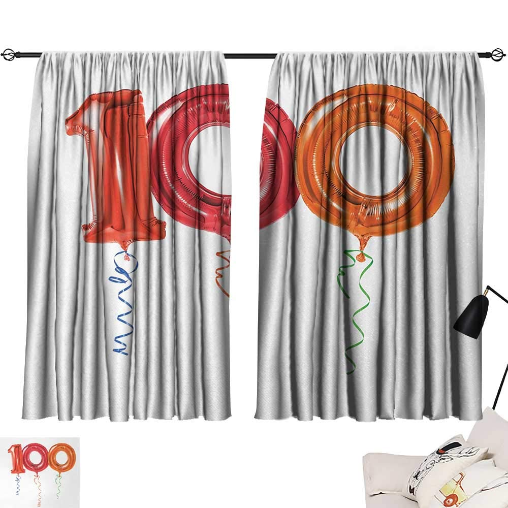 Jinguizi 100th Birthday Curtain Darkening Blackout Party for Hundred Years Olds Flying Balloons Artwork Print Woven Darkening Curtains Red Orange and Hot Pink W55 x L39
