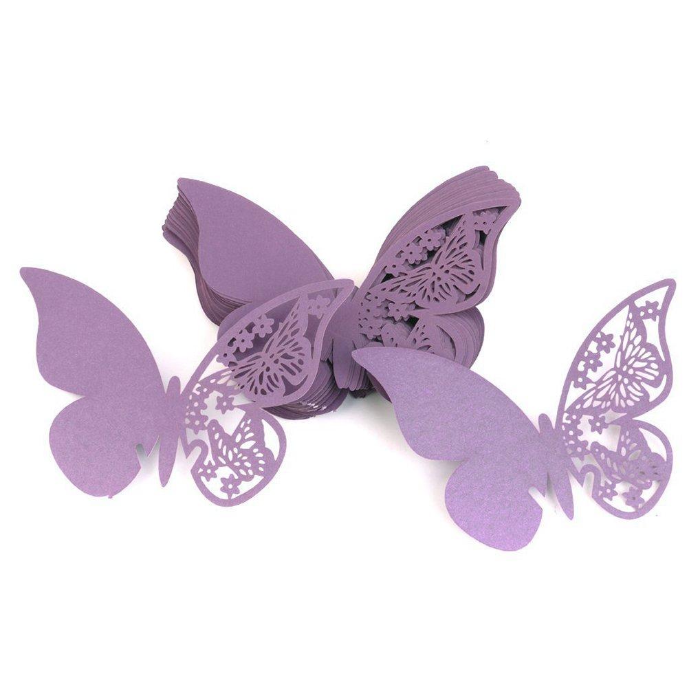 Tinksky Hollow farfalla stile matrimonio tavolo posto carta carta vetro di vino carta per 50pcs decorazione per la festa di nozze (viola)