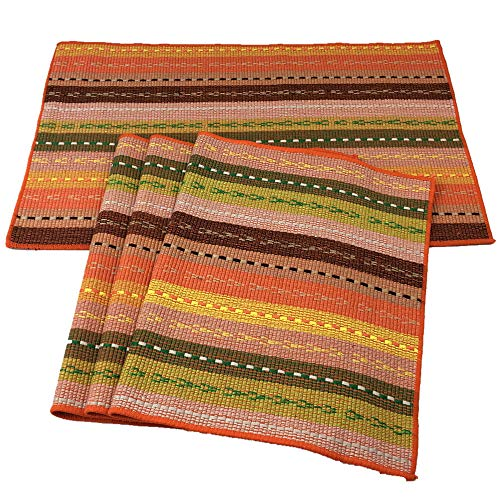 Red-A Hand Woven with 100% Cotton Placemats Colorful Placemats Braided Ribbed Durable Heat-Insulation Table Mats Set of 4,Orange (Table Orange Kitchen)