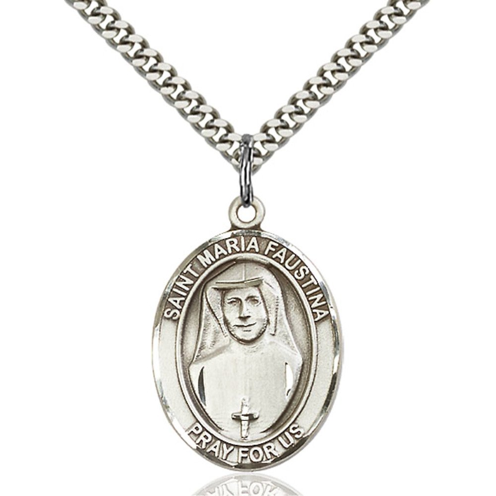 Maria Faustina Hand-Crafted Oval Medal Pendant in Sterling Silver Bonyak Jewelry St