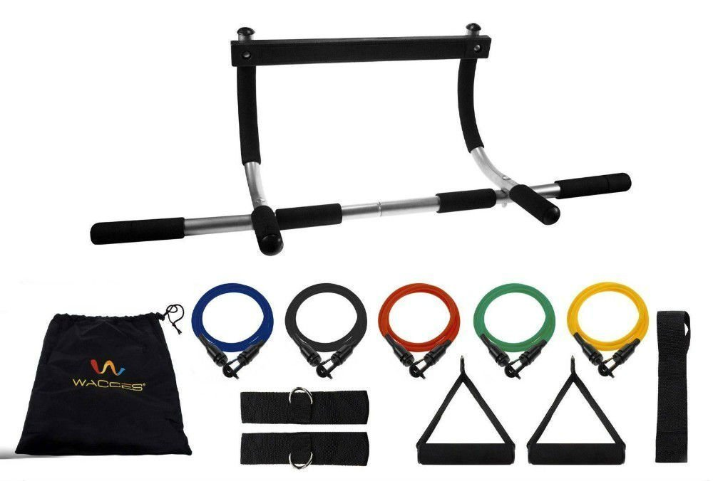 Door Gym Upper Body Iron Workout Bar for Pull up Chin up + 5 Resistance Bands by Unbranded*